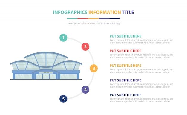 Flughafen, der infographic schablonenkonzept mit der liste mit fünf punkten und verschiedener farbe errichtet