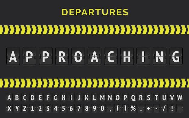 Flughafen-fluganzeigetafel mit realistischer flip-schriftart für den sich nähernden flugstatus mit pfeilstreifen