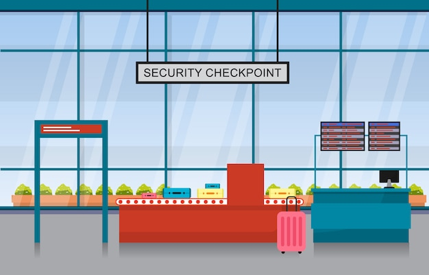 Flughafen flugzeug terminal gate ankunft abflughalle innen flat illustration