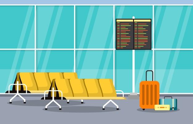 Flughafen flugzeug terminal gate wartezimmer halle interieur flache illustration