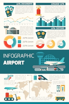 Flughafen-infografik-set