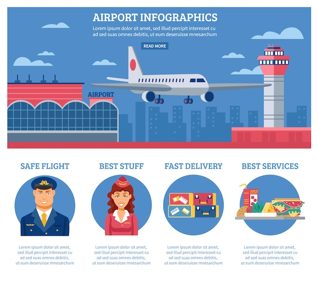 Flughafen infografiken designvorlage
