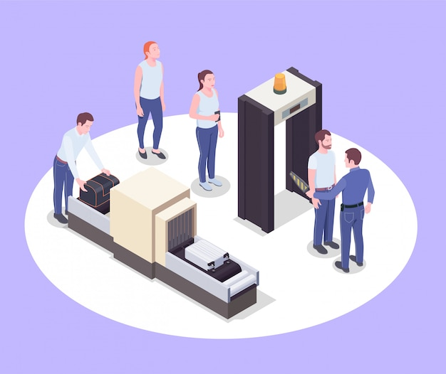 Flughafen isometrische zusammensetzung mit bildern von scannergeräten menschliche charaktere von passagieren und deren persönlichen gegenständen vektor-illustration