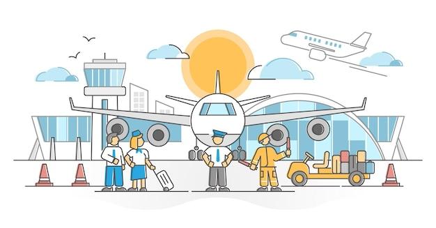 Flughafen mit flugbesatzung und lader als besatzungsszenen-umrisskonzept