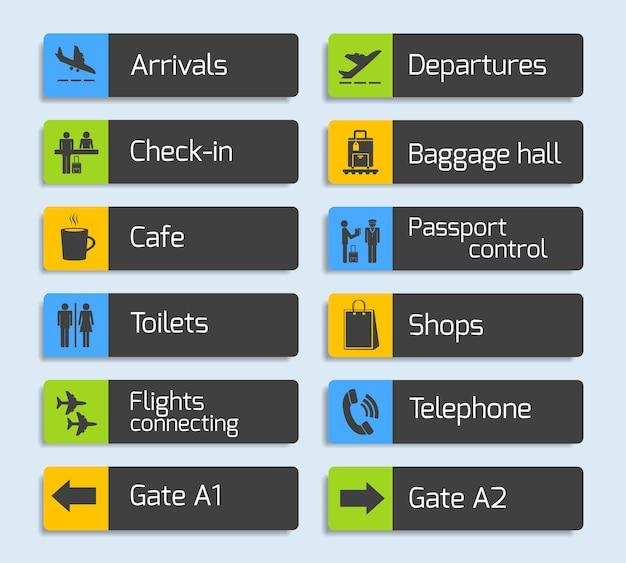 Flughafen-navigations-design-schilder eingestellt