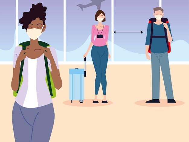 Flughafen neue normale, junge leute mit masken und koffern halten distanzprävention covid 19