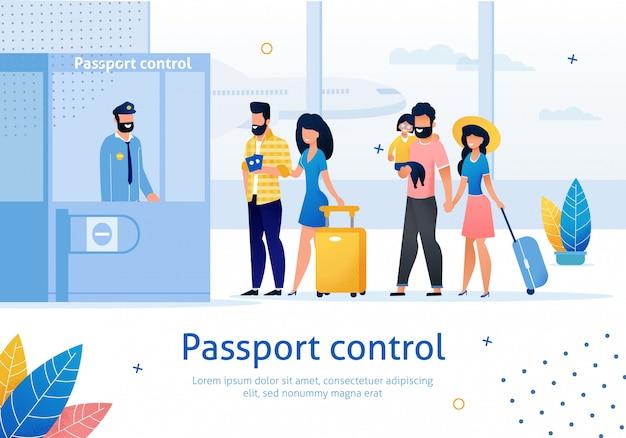 Flughafen passkontrolle flache werbebanner