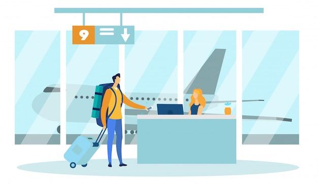 Flughafen-sicherheitskontrollbeamter, der auf person wartet.