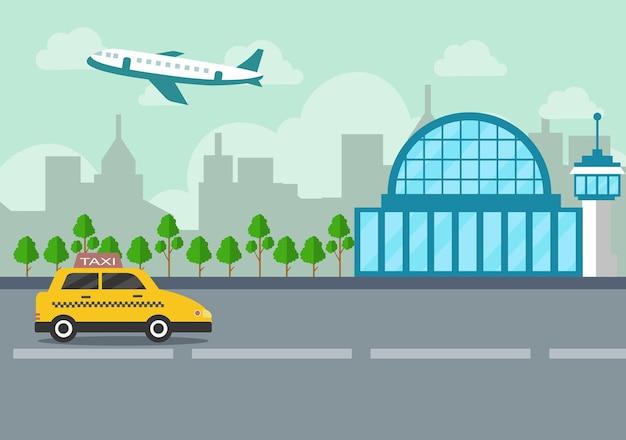 Flughafen terminal gebäude mit infografik flugzeuge abheben und verschiedene transportarten elemente abbildung