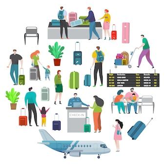 Flughafen und check-in-bereich. karikaturfiguren frau und mann am internationalen flughafen.