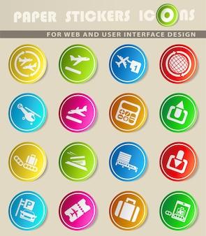 Flughafen-vektorsymbole auf farbigen papieraufklebern