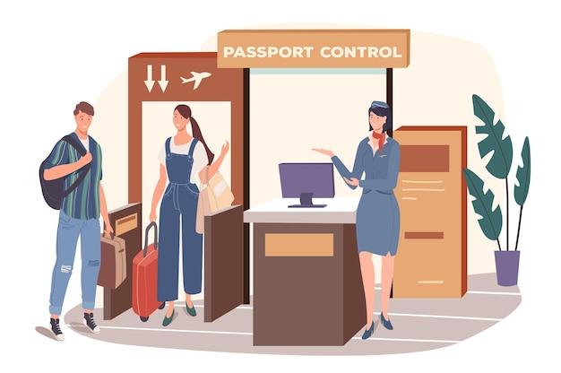 Flughafen-web-konzept. die passagiere erhalten die passkontrolle und gehen zum boarding-flugzeug. paar reist zusammen. sicherheitsdienst