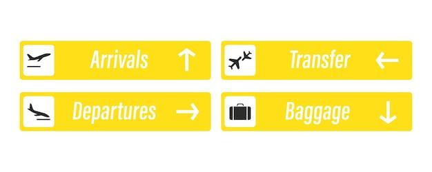 Flughafen-zeichen. ankünfte, abflüge, gepäck und transfer - informationstafeln. check-in, informationstafel über die richtung von ankünften und abflügen an flughäfen. start- und landeflugzeug