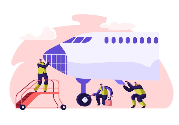 Flughafenarbeiter service und reinigungsflugzeug. leute, die flugzeug waschen.