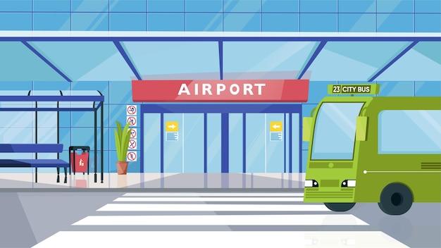 Flughafeneingang und busbahnhofkonzept im flachen cartoon-design. fassade des gebäudes mit tür, bank, bus und zebrastreifen. personenbeförderung, transfer. horizontaler hintergrund der vektorillustration