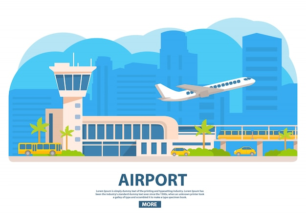 Flughafengebäude. elektrischer zug, gelbes taxi, touristenbus. flugzeug der passagierfluggesellschaften. abfertigungsturm des terminals.