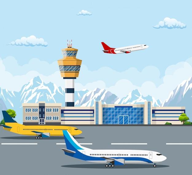 Flughafengebäude und flugzeuge