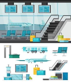 Flughafenillustration und isolierter satz von teilen eines flughafens