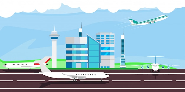 Flughafenillustrationsankunfts-abflugreise. terminal flugzeug kontrollgebäude.
