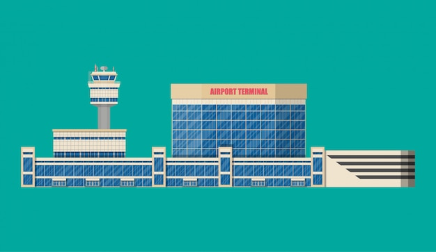 Flughafenkontrollturm, terminalgebäude