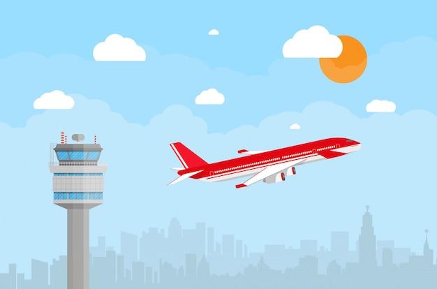 Flughafenkontrollturm und fliegendes flugzeug