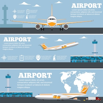Flughafenplakatset mit flugzeug.
