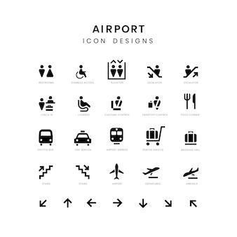 Flughafenservice zeichen vektor festgelegt