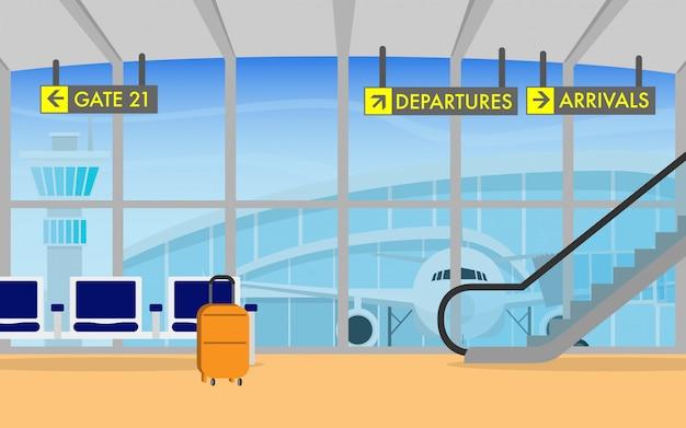 Flughafenterminal-abflugbereich mit flugzeug im hintergrund