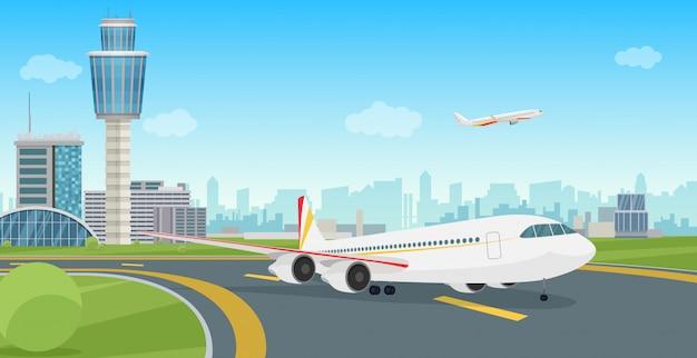 Flughafenterminalgebäude mit absteigendem flugzeugflugzeug.
