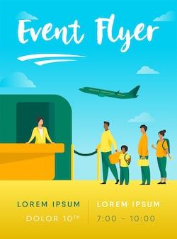 Flughafenwarteschlange illustration flyer vorlage