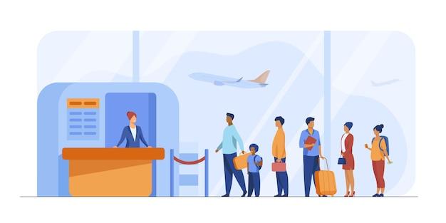 Flughafenwarteschlangenvektorillustration