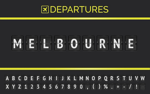 Fluginformationen des ziels in australien melbourne, getippt von der mechanischen schriftart des flughafen-flipboards mit dem flugzeugabflugsymbol.