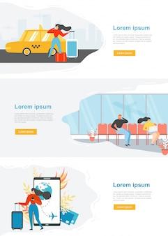 Fluglinien-reise-web-service-site-vektor-vorlage