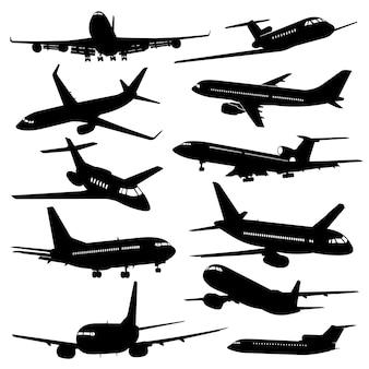 Flugluftfahrtikonen, schwarze schattenbilder des flugzeuges