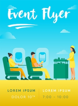 Flugreise mit komfort-flyer-vorlage. passagiere warten auf flugmahlzeit flyer vorlage. menschen, die mit dem flugzeug reisen und in der nähe der flugzeugfenster-flyer-vorlage sitzen
