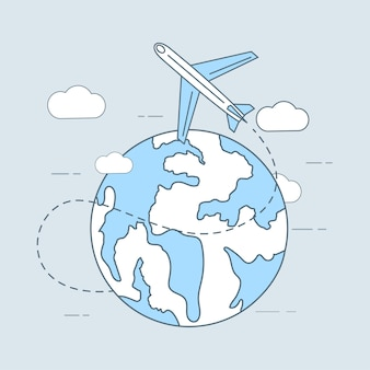 Flugreisekarikatur-umrissillustrationsflugzeug, das um das fliegt