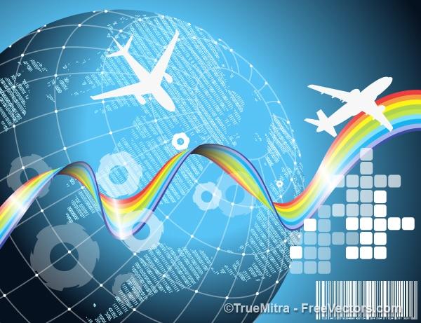 Flugreisen erde hintergrund vektor-set