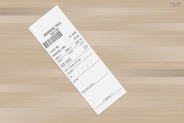 Flugticket bordkarte auf holz.