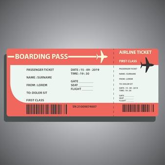 Flugticket für die reise mit dem flugzeug