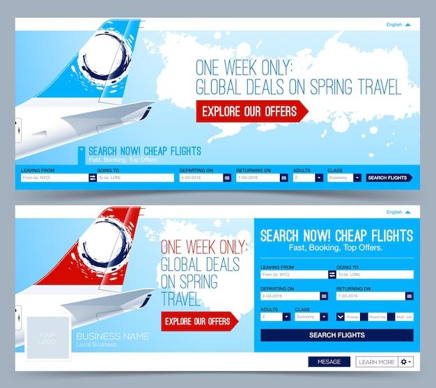 Flugtickets buchen flugvorlage flüge suchen header layout vorlage