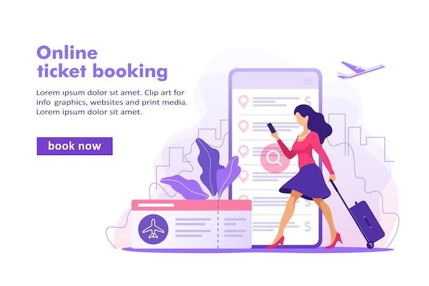 Flugtickets online-buchungskonzept ticket kaufen mit smartphone-banner