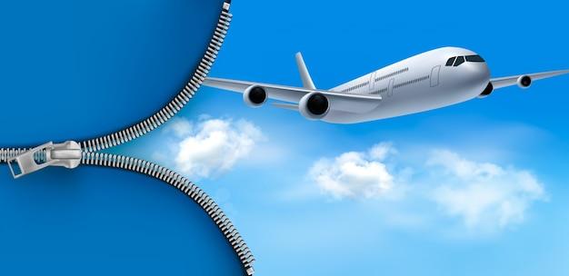 Flugzeug auf blauem himmel mit einem reißverschluss