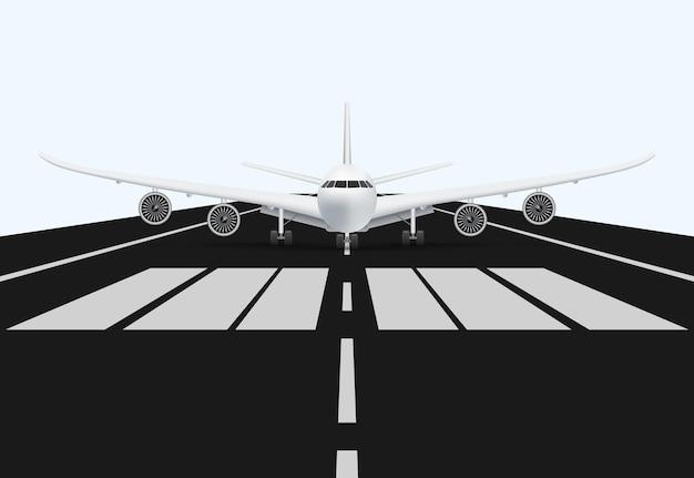 Flugzeug auf der landebahn des flughafens zum abheben