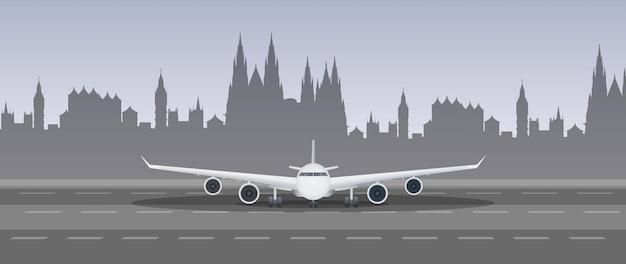 Flugzeug auf der landebahnillustration
