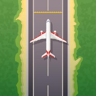Flugzeug auf der straße. landungsillustration. reisen sie mit dem flugzeug, privaten fluggesellschaften und transport