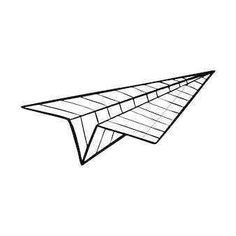 Flugzeug aus einem papierblatt. origami, papierhandwerk. handgezeichnete schwarz-weiße illustration