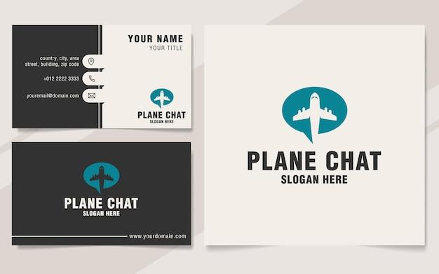 Flugzeug-chat-logo-vorlage im monogramm-stil