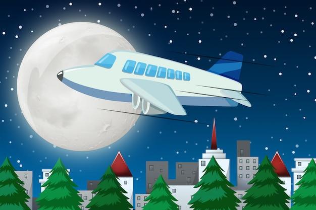 Flugzeug, das über himmel nachts fliegt