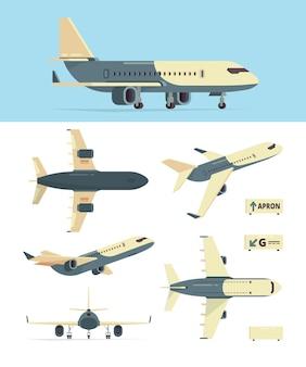 Flugzeug der zivilluftfahrt. modell verschiedener flugzeuge zeigt flugzeugsammlung. flugzeugluftfahrt, zivilflugzeug, flugzeuge zur passagierillustration