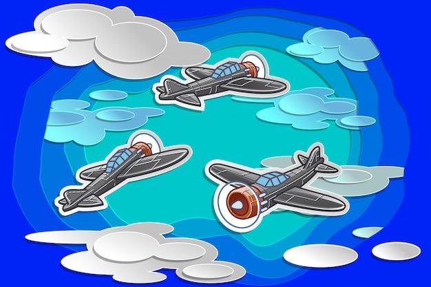 Flugzeug des vektors 3 fliegt in himmel mit papierschnittart.
